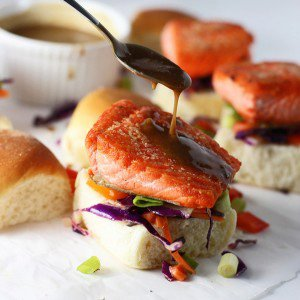 Salmon Sliders with (Epic!) Peanut Sauce and Asian Sesame Slaw